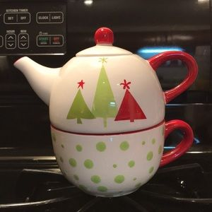Pier One Hand Painted Christmas Teapot And Cup Set
